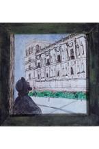 Piazza, cinese dell'inchiostro San Marco su pergamena