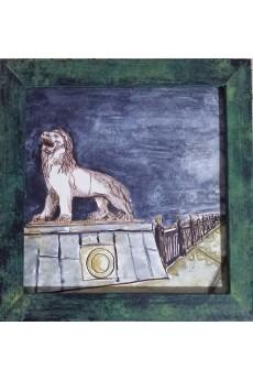 Ponte de leões, tinta chinesa em pergaminho